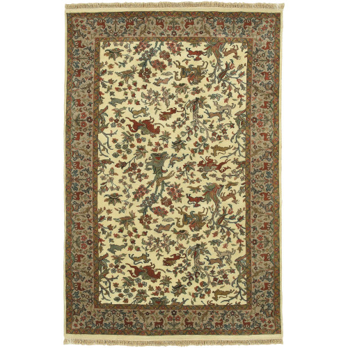 2' x 3' Floral Green and Beige New Zealand Wool Rectangular Area Throw Rug - IMAGE 1