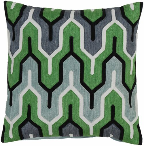 """22"""" Green and White Belvedere Striped Square Throw Pillow Cover - IMAGE 1"""