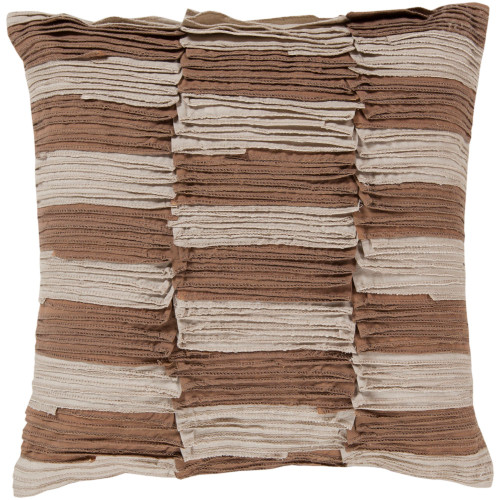 """22"""" Brown and Beige Ruched Stripes Square Throw Pillow Cover - IMAGE 1"""