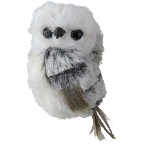 """3.5"""" White and Gray Fluffy Baby Owl Christmas Ornament - Right - IMAGE 1"""