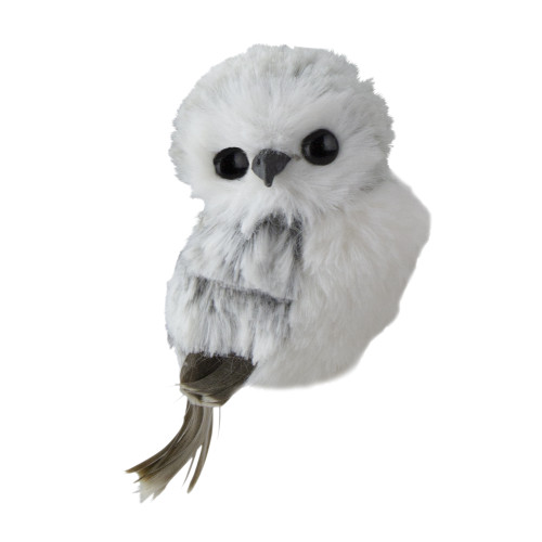 """3.5"""" White and Gray Fluffy Baby Owl Christmas Ornament - IMAGE 1"""