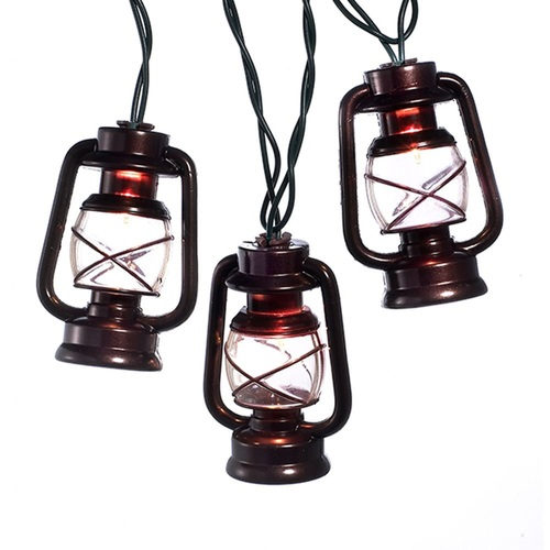 10-Count Brown Lantern Christmas Light Set, 8.5ft Green Wire - IMAGE 1