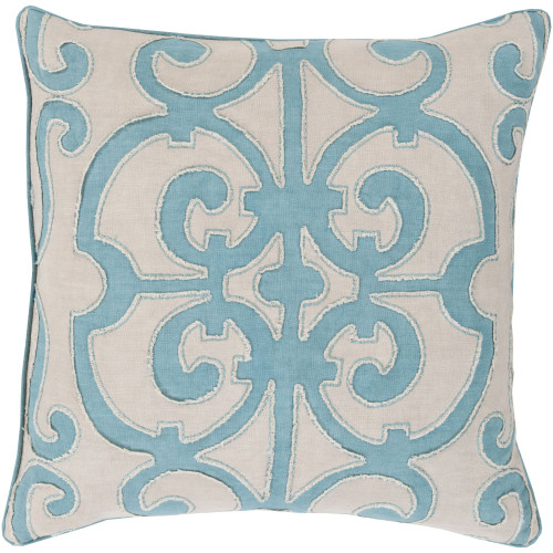 """18"""" Blue and Gray Traditional Motif Square Throw Pillow Cover - IMAGE 1"""
