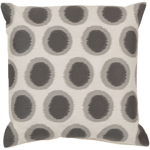 "22"" Cream White and Gray Polka Dotted Square Throw Pillow Cover - IMAGE 1"