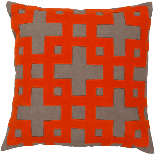 "22"" Orange and Brown Contemporary Style Square Throw Pillow Cover - IMAGE 1"
