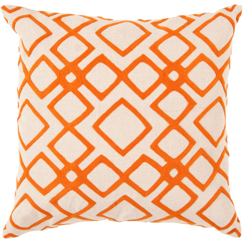 "22"" Cream White and Orange Geometric Square Throw Pillow Cover - IMAGE 1"