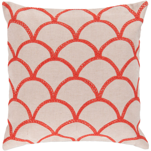 "22"" Cream White and Orange Contemporary Square Throw Pillow Cover - IMAGE 1"