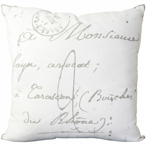 """18"""" Cream White and Charcoal Gray """"French text"""" Printed Square Throw Pillow Cover - IMAGE 1"""