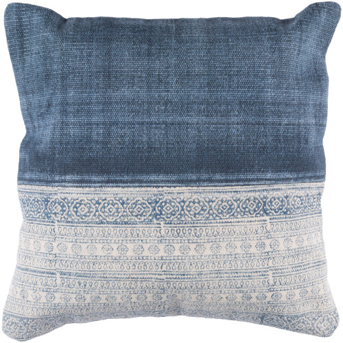 "20""  Cream White and Denim Blue Contemporary Style Square Throw Pillow Cover - IMAGE 1"
