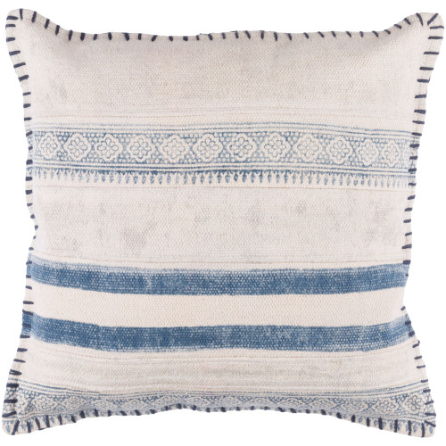 "20""  Cream White and Navy Blue Contemporary Style Square Throw Pillow Cover - IMAGE 1"
