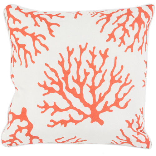 """20"""" Orange and White Contemporary Square Throw Pillow Cover - IMAGE 1"""