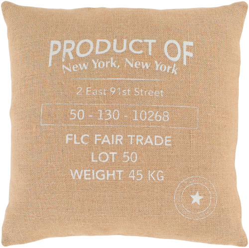 """20"""" Brown and Ivory """"PRODUCT OF New York"""" Square Throw Pillow - Down Filler - IMAGE 1"""