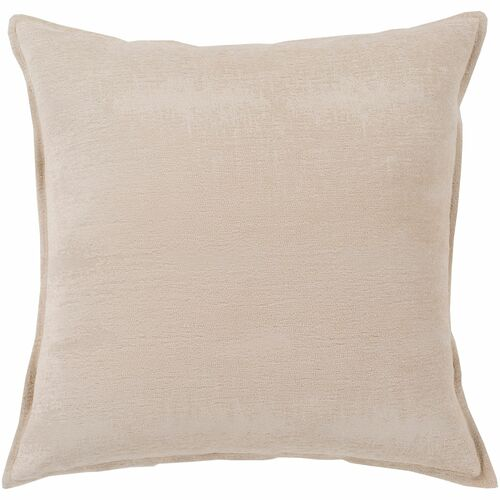 """18"""" Beige Jacquard Square Throw Pillow with Flange Edge - Down Filler - IMAGE 1"""
