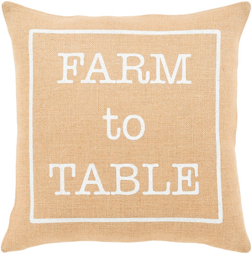 """20"""" Brown and Ivory """"FARM to TABLE"""" Square Throw Pillow - Down Filler - IMAGE 1"""