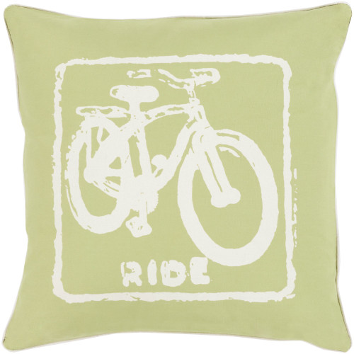 """20"""" Lime Green and Ivory White Cycle Printed Contemporary Style Square Throw Pillow Cover - IMAGE 1"""
