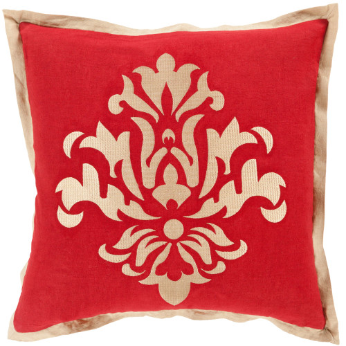 """18"""" Red and Gold Dazzling Damask Square Throw Pillow Cover - IMAGE 1"""