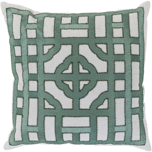 """22"""" Green and Gray Geometric Square Throw Pillow Cover - IMAGE 1"""