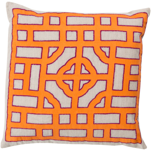 """22"""" Orange and White Geometric Square Throw Pillow Cover - IMAGE 1"""
