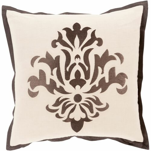 """22"""" Brown and Taupe Gray Dazzling Damask Square Throw Pillow Cover - IMAGE 1"""