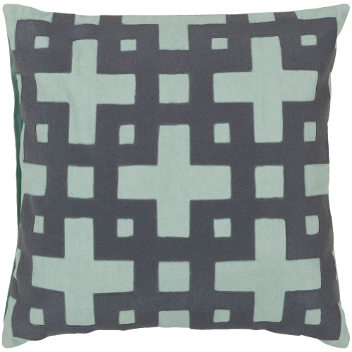 "18"" Gray and Aqua Blue Contemporary Style Square Throw Pillow Cover - IMAGE 1"