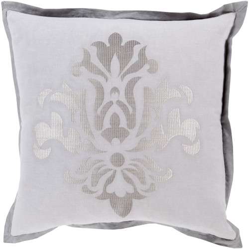 """20"""" Gray and Charcoal Black Dazzling Damask Square Throw Pillow Cover - IMAGE 1"""