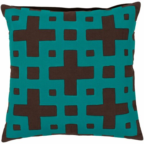 """22"""" Brown and Blue Contemporary Style Square Throw Pillow Cover - IMAGE 1"""