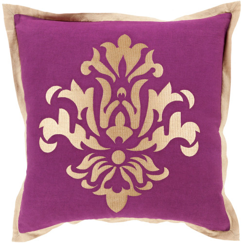 "18"" Purple and Gold Dazzling Damask Square Throw Pillow Cover - IMAGE 1"