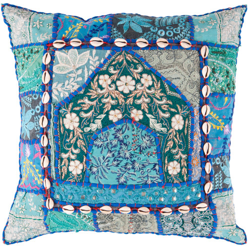 "18"" Emerald Green and Sky Blue Square Throw Pillow Cover - IMAGE 1"