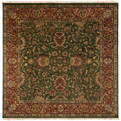 8' Floral Olive Green and Red New Zealand Wool Square Area Throw Rug - IMAGE 1
