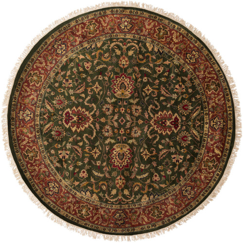 8' Floral Olive Green and Red New Zealand Wool Round Area Throw Rug - IMAGE 1