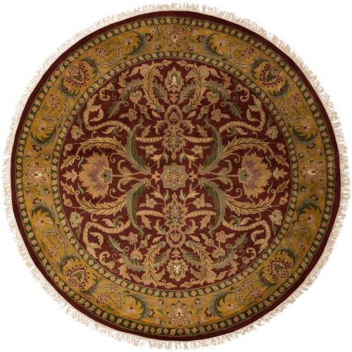 8' Floral Beige and Red New Zealand Wool Round Area Throw Rug - IMAGE 1