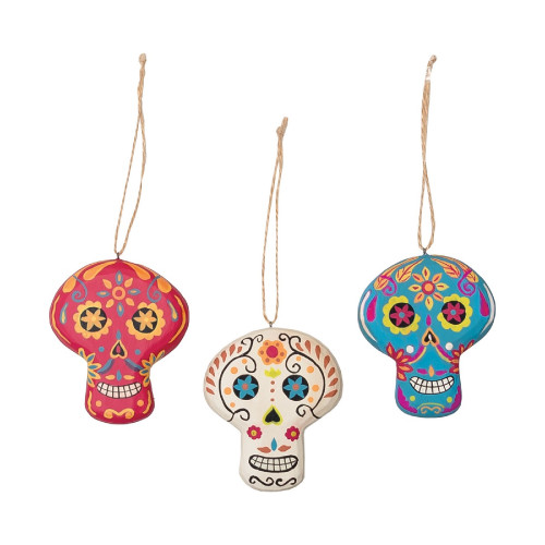 """Set of 3 Pink White and Blue Day of The Dead Christmas Ornament 3"""" - IMAGE 1"""