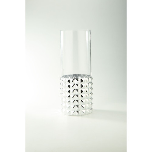 """15.5"""" Silver and Clear Pyramid Pattern Cylindrical Glass Vase - IMAGE 1"""