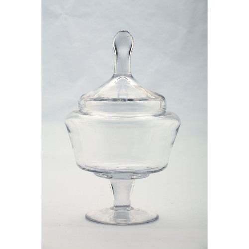 """11"""" Clear Apothecary Hand-Blown Glass Jar with Finial Lid - IMAGE 1"""