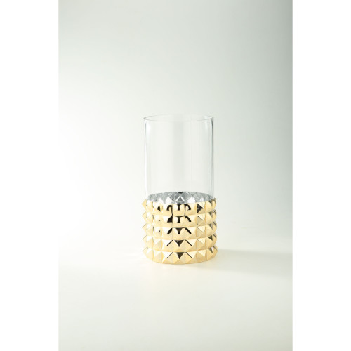 """12"""" Gold Pyramid Pattern Cylindrical Clear Glass Vase - IMAGE 1"""