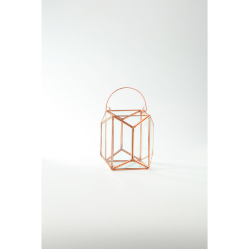 """6.5"""" Gold Colored Geometric Handblown Glass Terrarium with Hinged Ring - IMAGE 1"""