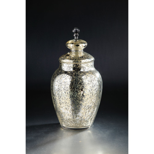 "19.5"" Silver and Gold Candy Dish Clear Glass Jar with Finial Lid - IMAGE 1"