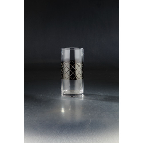 """10"""" Gray and Clear Cylindrical Hand-Blown Glass Vase - IMAGE 1"""