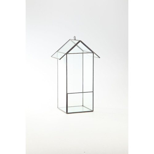 "12.5"" Black Hand Blown Glass House Terrariums with Hinged Lid - IMAGE 1"