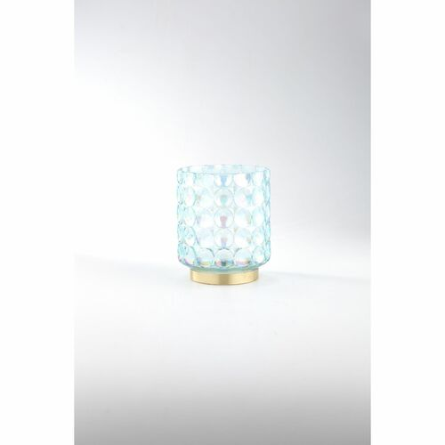 """6.5"""" Blue and Gold Bubble Textured Hand Blown Glass Votive Candle Holder - IMAGE 1"""
