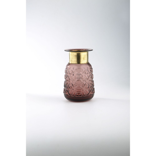 "8.5"" Brown Opaque Textured Hand Blown Glass Vase with Gold Bottle Neck - IMAGE 1"