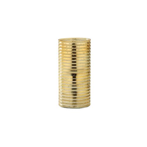 """9.5"""" Gold Corrugated Cylindrical Glass Vase - IMAGE 1"""