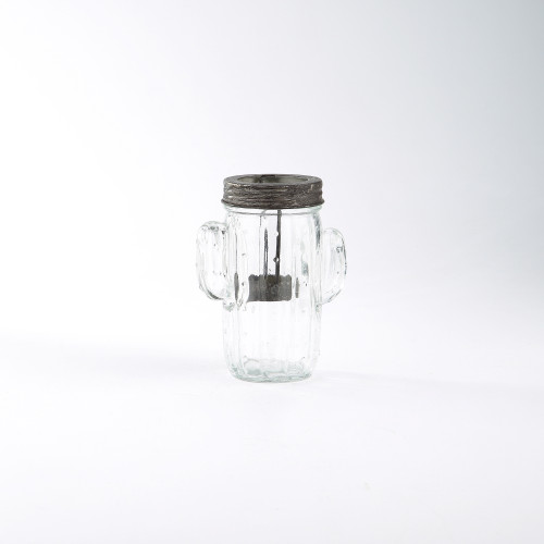 """5.5"""" Clear Handblown Glass Jar Shaped Candle Holder - IMAGE 1"""