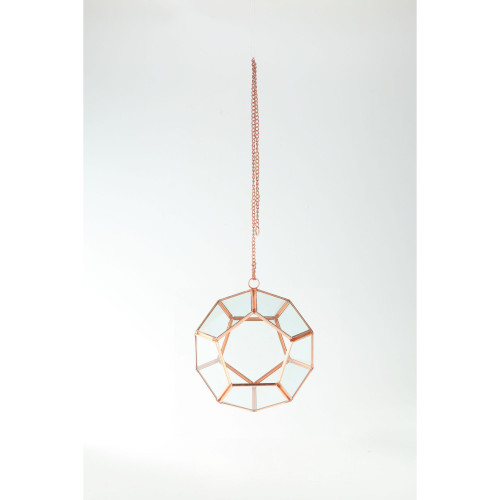 """7.5"""" Rose Gold Colored Pentagon Hand Blown Glass Terrarium with Chain - IMAGE 1"""