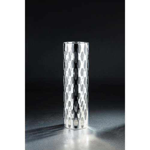 """15.5"""" Silver and Clear Cylindrical Handblown Glass Vase - IMAGE 1"""