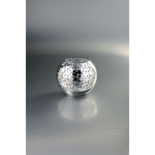 """6.5"""" Silver Colored Weathered Hand Blown Glass Votive Candle Holder - IMAGE 1"""