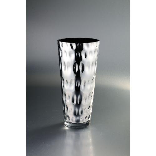 """14"""" Silver Textured Modern Hand Blown Glass Vase - IMAGE 1"""