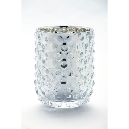 """5.5"""" Silver Colored Hand Blown Glass Votive Candle Holder - IMAGE 1"""