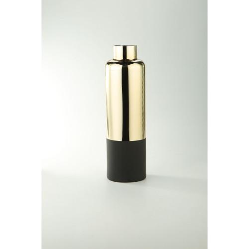 "15.5"" Metallic Gold and Black Glass Bud Vase - IMAGE 1"