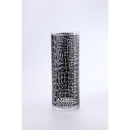 """15.5"""" Black and Clear Cylindrical Glass Floral Vase - IMAGE 1"""
